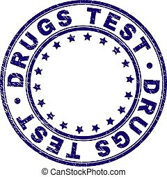 Scratched Textured DRUGS TEST Round Stamp Seal