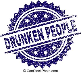 Scratched Textured DRUNKEN PEOPLE Stamp Seal