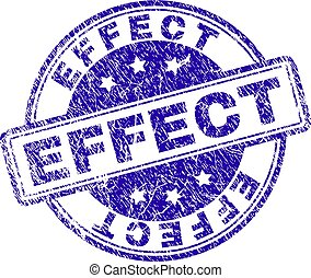 EFFECT stamp seal watermark with distress effect. Designed with rounded rectangles and circles. Blue vector rubber print of EFFECT tag with dirty texture.