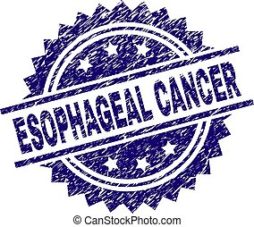 ESOPHAGEAL CANCER stamp seal watermark with distress style. Blue vector rubber print of ESOPHAGEAL CANCER label with unclean texture.