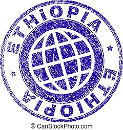 Scratched Textured ETHIOPIA Stamp Seal
