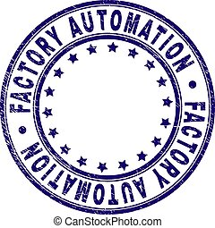 Scratched Textured FACTORY AUTOMATION Round Stamp Seal
