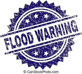 Scratched Textured FLOOD WARNING Stamp Seal