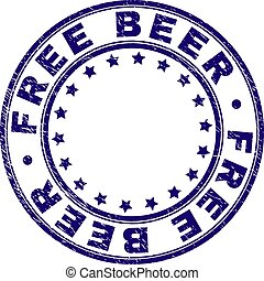 Scratched Textured FREE BEER Round Stamp Seal