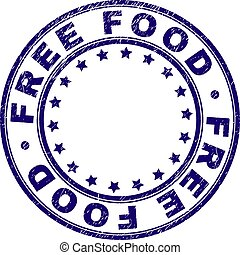Scratched Textured FREE FOOD Round Stamp Seal