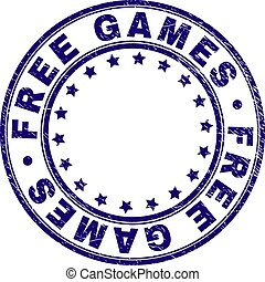 Scratched Textured FREE GAMES Round Stamp Seal