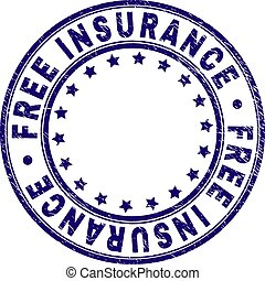 Scratched Textured FREE INSURANCE Round Stamp Seal