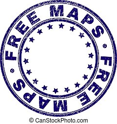 Scratched Textured FREE MAPS Round Stamp Seal