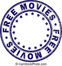 Scratched Textured FREE MOVIES Round Stamp Seal