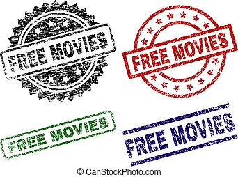 Scratched Textured FREE MOVIES Seal Stamps - FREE MOVIES ...