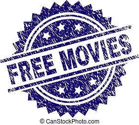 Scratched Textured FREE MOVIES Stamp Seal - FREE MOVIES ...