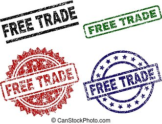 Scratched Textured FREE TRADE Stamp Seals