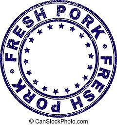 Scratched Textured FRESH PORK Round Stamp Seal