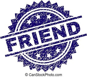 Scratched Textured FRIEND Stamp Seal
