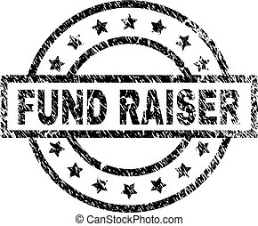 FUND RAISER stamp seal watermark with distress style. Designed with rectangle, circles and stars. Black vector rubber print of FUND RAISER text with dust texture.