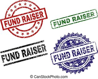 FUND RAISER seal prints with damaged texture. Black, green, red, blue vector rubber prints of FUND RAISER text with corroded texture. Rubber seals with round, rectangle, medal shapes.
