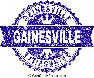 Scratched Textured GAINESVILLE Stamp Seal with Ribbon
