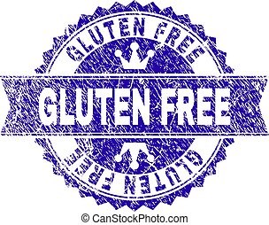 Scratched Textured GLUTEN FREE Stamp Seal with Ribbon