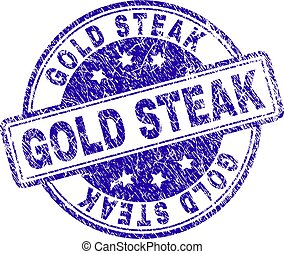 Scratched Textured GOLD STEAK Stamp Seal