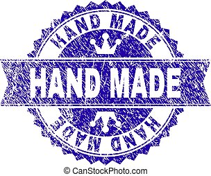 Scratched Textured HAND MADE Stamp Seal with Ribbon