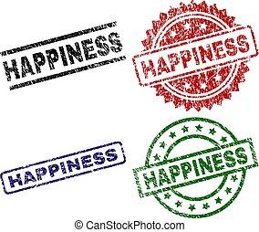 Scratched Textured HAPPINESS Stamp Seals