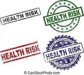 Scratched Textured HEALTH RISK Stamp Seals
