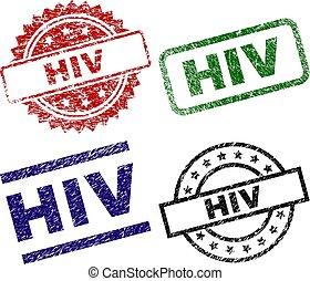 Scratched Textured HIV Stamp Seals