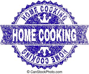 Scratched Textured HOME COOKING Stamp Seal with Ribbon