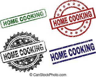 Scratched Textured HOME COOKING Stamp Seals