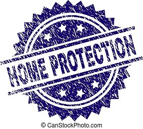 Scratched Textured HOME PROTECTION Stamp Seal