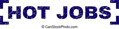 Scratched Textured HOT JOBS Stamp Seal Between Corners