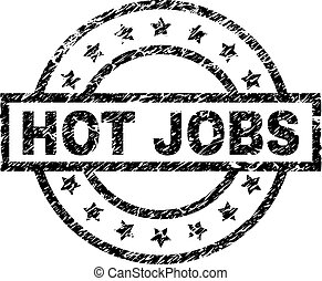 Scratched Textured HOT JOBS Stamp Seal