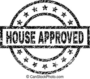 Scratched Textured HOUSE APPROVED Stamp Seal