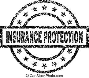 Scratched Textured INSURANCE PROTECTION Stamp Seal