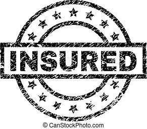 Scratched Textured INSURED Stamp Seal