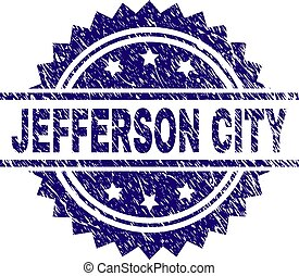 Scratched Textured JEFFERSON CITY Stamp Seal - JEFFERSON...