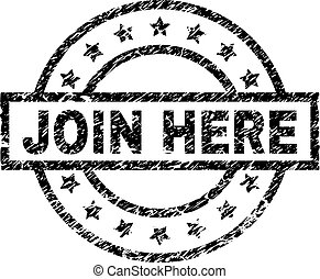 JOIN HERE stamp seal watermark with distress style. Designed with rectangle, circles and stars. Black vector rubber print of JOIN HERE tag with dust texture.