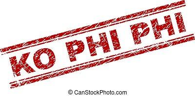 Scratched Textured KO PHI Stamp Seal - KO PHI seal print...