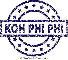 Scratched Textured KOH PHI Stamp Seal - KOH PHI seal print...
