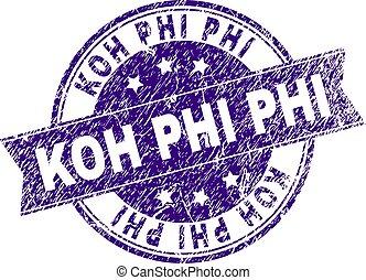 Scratched Textured KOH PHI Stamp Seal - KOH PHI stamp seal...