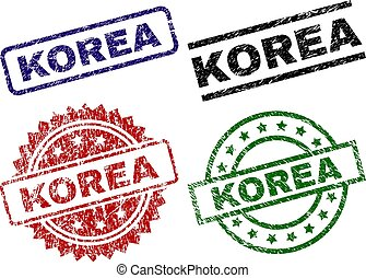 Scratched Textured KOREA Seal Stamps