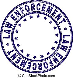 Scratched Textured LAW ENFORCEMENT Round Stamp Seal - LAW...