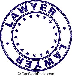 Scratched Textured LAWYER Round Stamp Seal