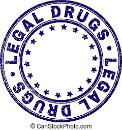 Scratched Textured LEGAL DRUGS Round Stamp Seal