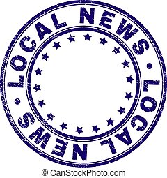Scratched Textured LOCAL NEWS Round Stamp Seal