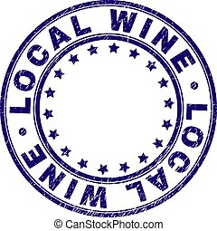 Scratched Textured LOCAL WINE Round Stamp Seal