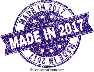 Scratched Textured MADE IN 2017 Stamp Seal