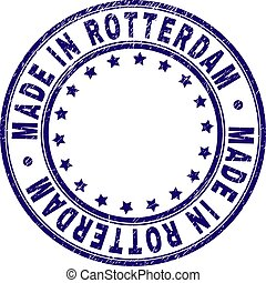 Scratched Textured MADE IN ROTTERDAM Round Stamp Seal