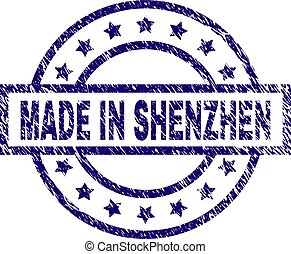 Scratched Textured MADE IN SHENZHEN Stamp Seal
