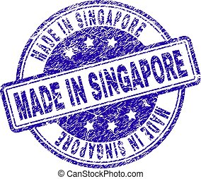 Scratched Textured MADE IN SINGAPORE Stamp Seal